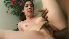 Pretty white chick seduces a big black dude into screwing her hard