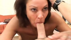 Nasty brunette housewife entertains a pair of peckers while hubby's away