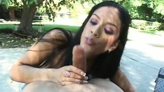 Sugary Latin babe with long dark hair is bouncing on a perfect pink member