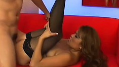 Asian In Stockings Gets Doggystyle Fuck