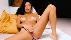 Blonde tight pussy babe solo toy fun in glamour masturbation
