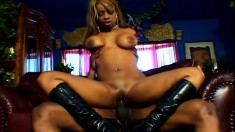 Sensual ebony girl with big boobs and a perfect booty loves black cock