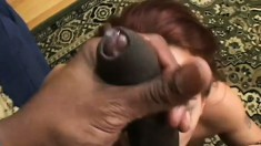 Sexy redhead with a fine ass eats big black meat and gets drilled