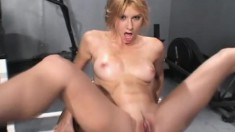 Wild blonde with perky tits Betty gets fucked hard by three black guys