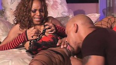 Young black babe in fishnet stockings pays her pimp with her ass
