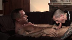 Tattooed guy has his sexy muscled lover banging his ass nice and deep