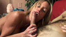 Blonde with big fake tits gives her sugar daddy a great ride