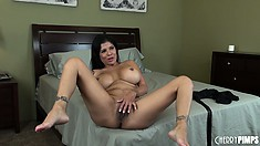 Alexis spreads her superb legs wide open welcoming that dildo deep in her pussy