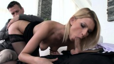 Adorable blonde in black stockings surrenders her holes to two studs