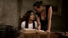 Dazzling brunette schoolgirl gets dominated by her voluptuous mistress