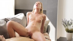 Sexy blonde babe Llana has an evening of chewing meat and fucking
