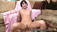Trimmed cunt of pretty Zoe Voss gets filled with thick and tasty gun