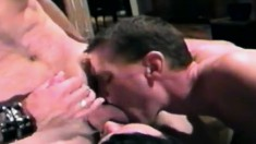 Cock-hungry guy gets down on his knees to get a mouthful of this stiff bone