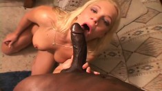 Stacked blonde Heidi enjoys intense orgasms while riding a black cock
