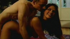 Hot Isabelle has a big dildo and a hard cock pleasing her hairy pussy