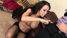 Busty milf Kristina Cross drops her clothes and takes a deep pounding
