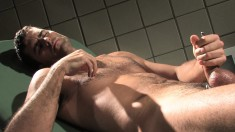 Hunky stallion gets off on sounding his own piece of man meat