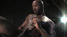 Black stud sticks a rod in his dick and plays with his balls