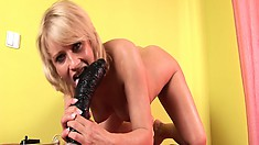 Fantastic performer named Iris is show real magic with monstrous, black shaft