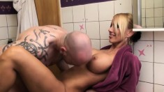 Fetish blowjob piss shower girl