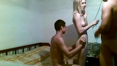 Very hot horny amateur teen girl in threesome on webcam