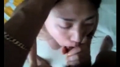 Asian Girlfriend's First Oral Creampie