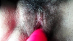 My hairy wife with a vibrator