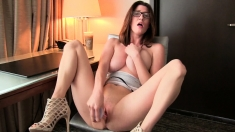Stunning brunette with big natural boobs anally invaded