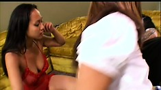 Sultry brunettes Loni and Kylie eat out each other's twats before sucking a big cock
