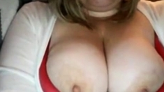 Chubby blonde plays with chubby tits on Chatroulette