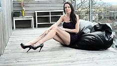 She's so naughty that she wears erotic lingerie under her dresses