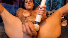 Tattooed Babe Banged Her Bushy Pussy Hard