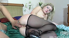 Jaclyn pulls down her pantyhose for Nicholas and lets him pound her pussy