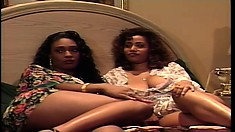 Gorgeous ebony lesbians rub their cunts against each other and reach their climax