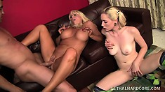A pair of incredibly hot blondes give their bodies up to a hung fucker
