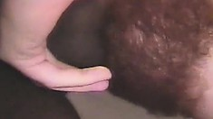 Bearded white dude gets his first taste of a chubby chocolate cock