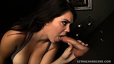 Alison Tyler loves sucking huge cock, especially at seedy gloryholes