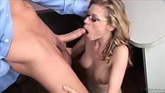 Horny secretary babe Nicole Ray sucking cock and riding it in a hardcore porno