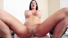 Busty pervert stepmother jumps on her stepsons cock