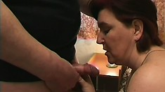 The taste of this chunky mature brunette's pussy is something special
