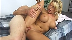 Big tit blonde gobbles up his dong gets her ass nailed and goes ATM