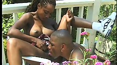 Needy and yummy black courtesan is having cool outdoor oral and anal sex