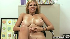 Busty blonde Latina Milf gets drilled doggy style and gives titty job for cum