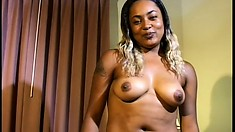 Cute ebony babe with lovely tits and a hot ass has her first sex scene