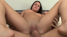 Alex Gonz gets a brunette fuck toy and gets sucked before he drills her